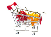 Red Shopping Cart with pepper Isolated On White Royalty Free Stock Photography