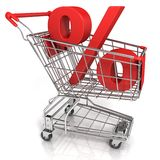 Red shopping cart with percent sign Stock Photography