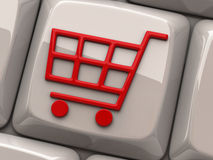 Red shopping cart symbol on computer key. Illustration of red shopping cart symbol on computer key