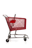 Red shopping cart on white Stock Image