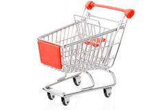 Red shopping cart on white, clipping path Stock Image