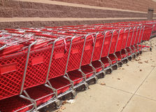 Red Shopping Carts Outside A Store Stock Photography