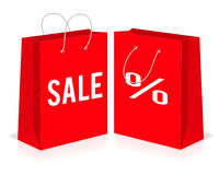 Red shopping paper empty bags with percent and sale signs. Vector illustration. vector illustration