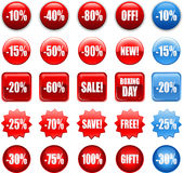 Red shopping sales icons labels tags Stock Image