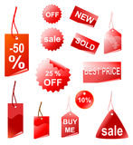 red shopping tags, vector Royalty Free Stock Photos