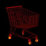 Red shopping trolley Stock Photos