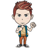 Male Teen Character - Hold Fist Up in the Air. Red Short-hair Angry Teen Boy standing and holding fist up in the air, wearing orange tank top tshirt and brown Royalty Free Stock Images