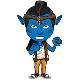 Young Kid Character in Avatar costume. Red Short-hair Boy standing, face painting in Avatar style skin, wearing white tank top tshirt and jeans. Mohawk haircut Royalty Free Stock Image
