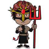 Young Kid Character in Devil costume. Red Short-hair Boy standing, holding Three pronged spear, wearing black Devil suit with Red pointed tail Stock Images
