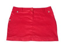 Red short skirt. Isolated on white background with clipping path Royalty Free Stock Image