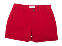 Red shorts. Isolated on white background Stock Photos