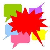 Red shouting. Big red shouting bubbles upon many colorful chat others Royalty Free Stock Photo