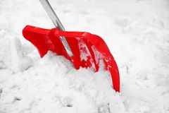 Red shovel for snow. Removal Royalty Free Stock Photo