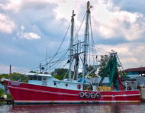 Red shrimp boat HDR. HDR image of an idle red shrimp at the dock Stock Photography