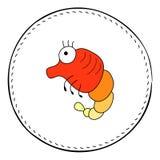 Red shrimp isolated on white background. Cute prawn cartoon  illustration. Stock Photo
