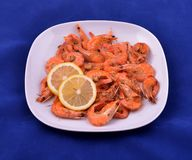 Red shrimps cooked with butter, garlic and lemon on white plate stock image