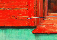 The Red Shutter. A watercolour painting of an old and decayed window frame and shutter Royalty Free Stock Photo