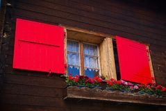 Red Shutter Window Royalty Free Stock Photography