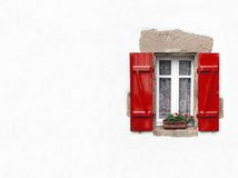 Red shuttered window on white Stock Images