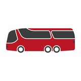 Red shuttle bus with black windshield art isolated on white. Royalty Free Stock Photo