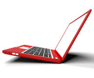 Red Sideways Computer On Desk With White Copyspace. Red Sideways Computer On Desk And White Copyspace Royalty Free Stock Images