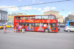 Red sightseeing bus Stock Images
