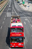 Red Sightseeing Tour Bus in Lisbon Stock Photo