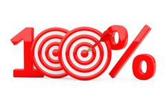 Red 100 %  Sign as Darts Target with Darts Arrow. 3d Rendering. Red 100 %  Sign as Darts Target with Darts Arrow on a white background. 3d Rendering Royalty Free Stock Image