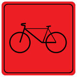 Red sign with bicycle. Stock Image
