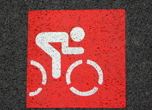 Red sign of bicycle lane Stock Image