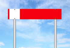 Red sign with blue sky Stock Images