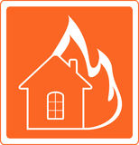 Red sign house fire. Red warning sign with house fire Royalty Free Stock Image