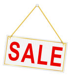 Red sign label with the inscription sale hanging on a rope vecto Stock Photography