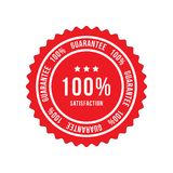 Red sign 100 percent satisfaction guarantee. Flat vector illustration EPS 10.  stock illustration