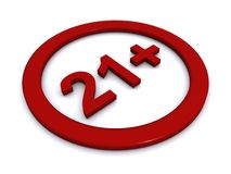 21 plus sign. A red sign with the text 21 Stock Image