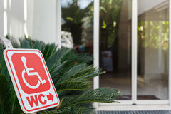 Red sign of toilet for wheelchair users Stock Photography