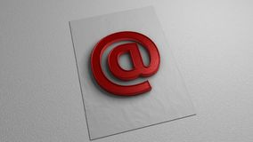 Red `at` sign on white paper. E-mail. Graphic illustration. 3d rendering. Graphic symbol on white background Stock Images