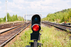 Red signal. Red light on the railroad Royalty Free Stock Images