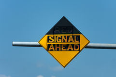 Red Signal Ahead Traffic Sign Stock Photography
