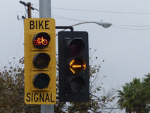 Red Traffic Signal for Bicycles Royalty Free Stock Images