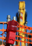Red signal lamp of the road works Stock Images