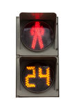 Red signal of a traffic light. In isolation Royalty Free Stock Image