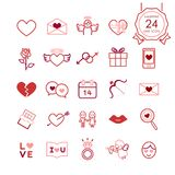 Red signs and symbols line icons set of heart and romantic elements for valentines day. royalty free illustration