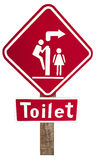 The red signs of toilet on  wood Royalty Free Stock Images