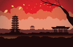 Red silhouette China scene background Royalty Free Stock Photography