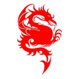 Red silhouette of a fighting dragon, sharp tail, on a white back. Ground, vector Royalty Free Stock Photography