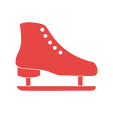 Red silhouette ice skate elements sport Royalty Free Stock Photos