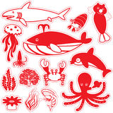 Red silhouette icons life under the sea Royalty Free Stock Image