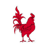 Red silhouette of rooster. Chinese New Year 2017. Stock Photos