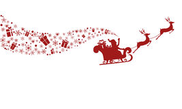Red Silhouette. Santa claus flying with reindeer sleigh. Royalty Free Stock Image